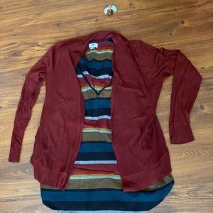 Cardigan with see through knit look.